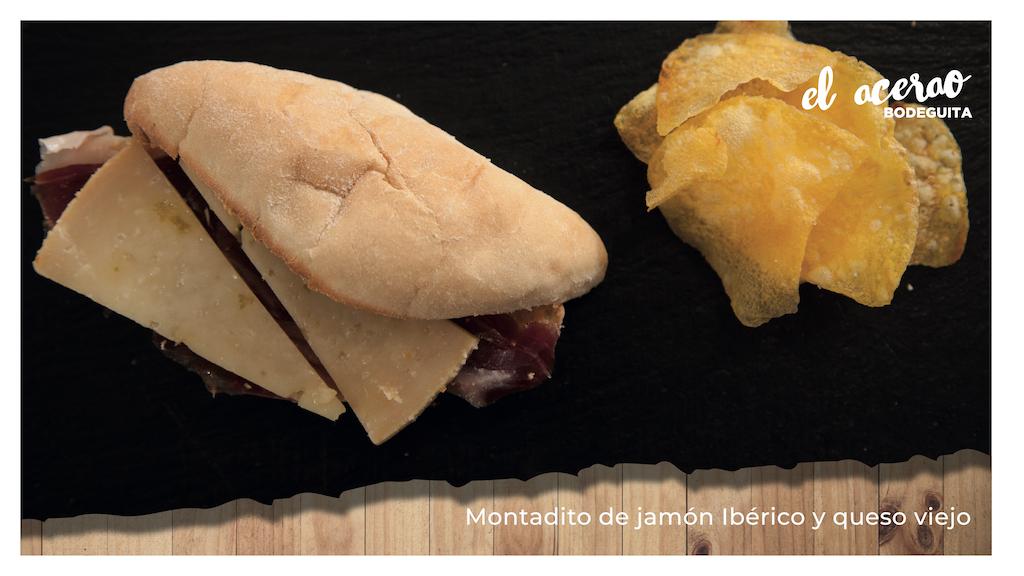 Montadito de jamón ibérico y queso viejo